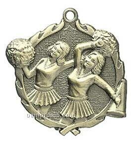 "Medal, Cheerleader - 1-3/4"" Wreath Edged"