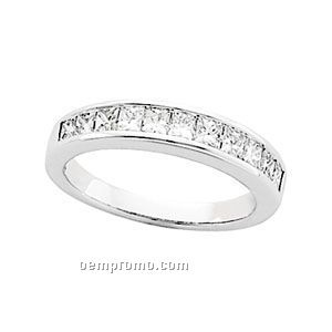 Plat. 1 Ct Tw Diamond Square Princess Anniversary Band Ring (Size 5-8)