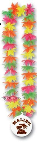 "44"" Lotus Leis W/ Plastic Medallion (Multiple Flower Color)"