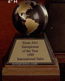 """3"""" Black/ Gold Marble World Globe Award On Base"""