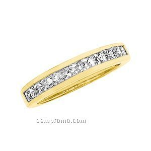 Ladies' 14ky 1 Ct Tw Square Princess Anniversary Band Ring (Size 5-8)