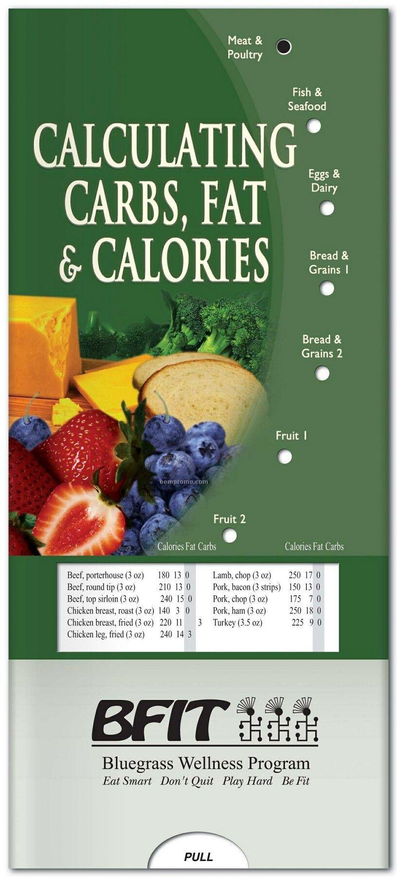 Pillowline Calculating Carbs Fat & Calories Pocket Slider Chart