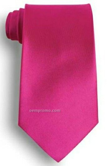 Wolfmark Solid Series Fuchsia Pink Polyester Satin Tie