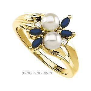 14ky 4-1/2mm Cultured Pearl/Sapphire & .04 Ct Tw Diamond Round Ring