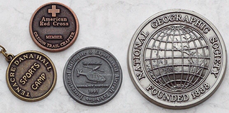 "Die Cast Zinc Coins & Medallions (2 1/2"" Diameter, 4 Gauge)"