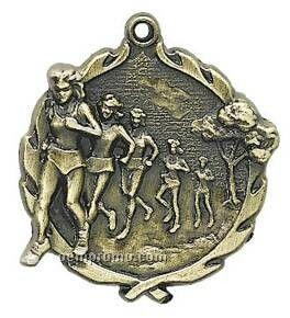 "Medal, ""Cross Country, Female"" - 1-3/4"" Wreath Edging"