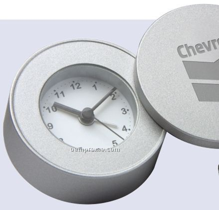 Round Coin Style Heavyweight Travel Clock