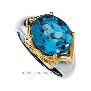 14ktt 12x10 Genuine Swiss Blue Topaz & .03 Ct Tw Diamond Round Ring