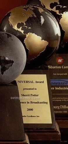 """5"""" Black/ Gold Marble World Globe Award On Base"""