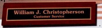 "Prestige Series Red Alder Desk Wedge Nameplate W/ Metal Plate (2-1/4""X8"")"