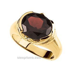 14ky 12x10 Genuine Mozambique Garnet & .04 Ct Tw Diamond Round Ring
