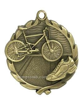 "Medal, ""Triathlon"" - 1-3/4"" Wreath Edging"