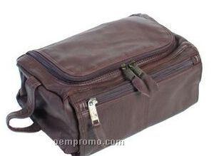 Chocolate Brown Plonge Leather Shave Kit