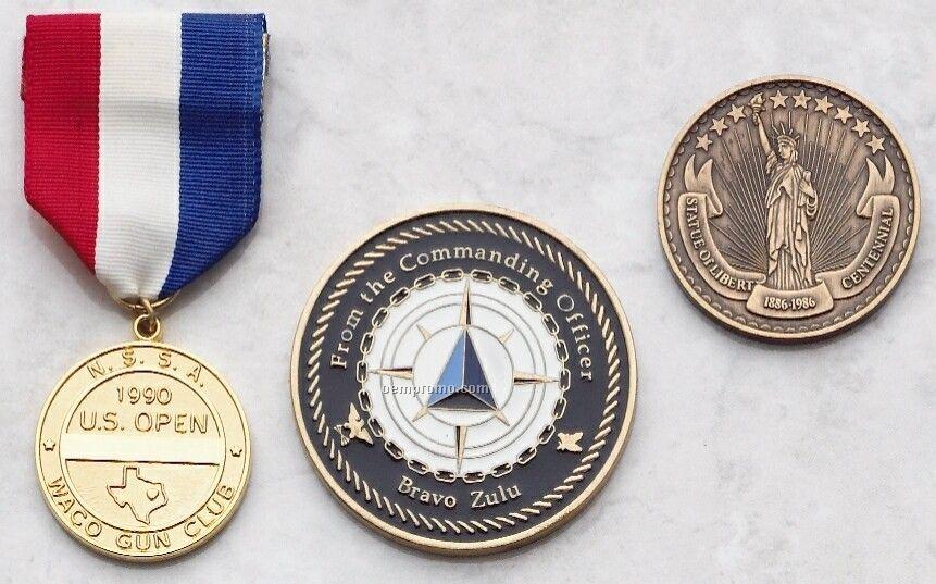 """Die Struck Brass Coins & Medallions (1 1/4"""" Diameter, 12 Gauge)"""