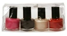 Four 0.25 Fluid Ounce Nail Polish Bottles In Plastic Snap-top Bag