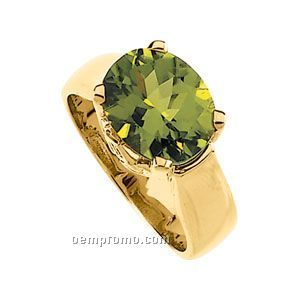 Ladies' 14ky 11x9 Genuine Peridot & .025 Ct Tw Diamond Round Ring