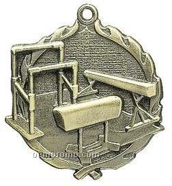 """Medal, """"Gymnastics, Female"""" - 1-3/4"""" Wreath Edging"""