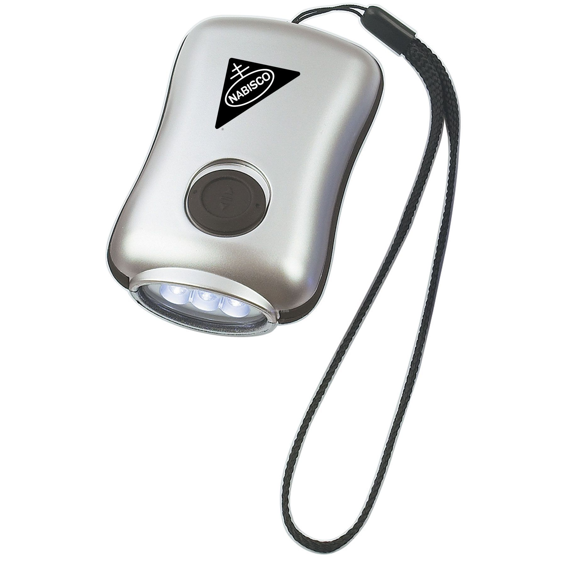 Silver LED Crank Flashlight W/ Wrist Strap