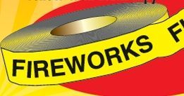 "Stock Traffic Control Barrier Tape - Fireworks (1200'x3"")"
