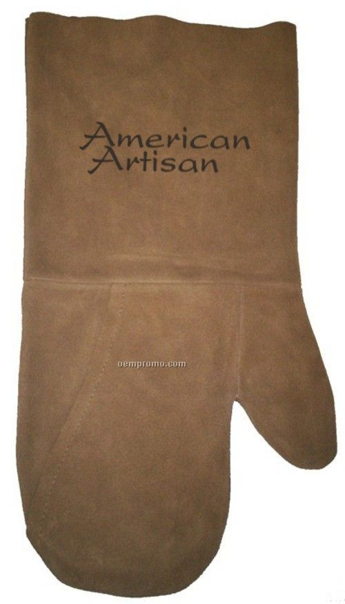 Suede Mitt, Laser Engraved, Washable (Camel)
