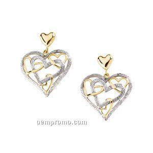 14ktt Heart Dangle Earrings