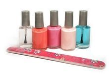 "Five 0.50 Fl. Oz. Nail Polish Bottles & 7"" Emery Board In Plastic Zip Bag"