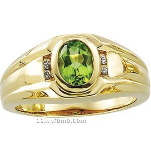 Gents' 14ky 8x6 Genuine Peridot & .06 Ct Tw Diamond Round Ring