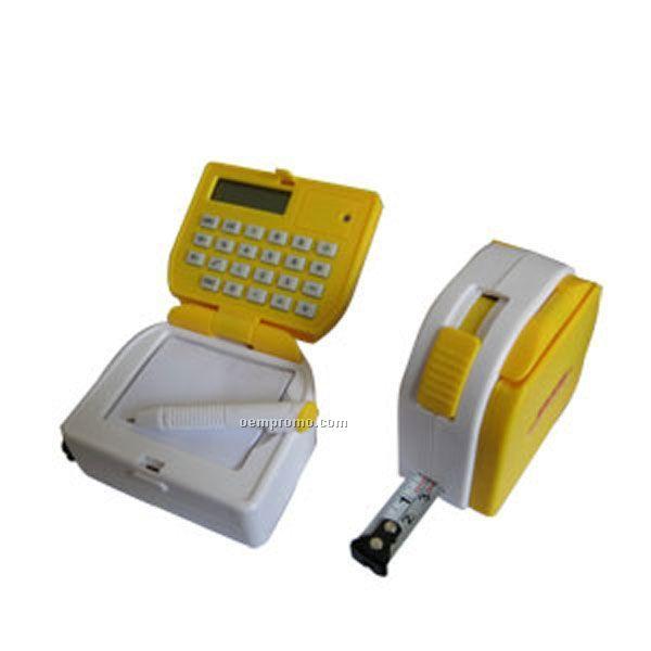 Multi Function Tape Measure W/ Calculator, Notepad, Pen