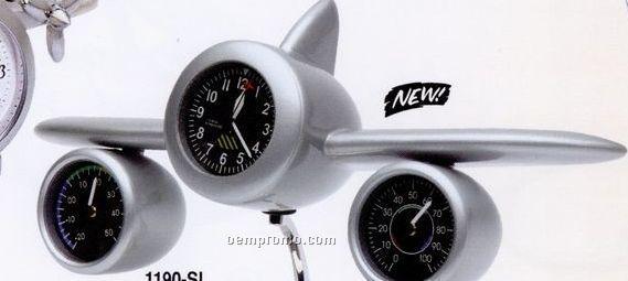 Airplane Clock W/ Temperature Gauge