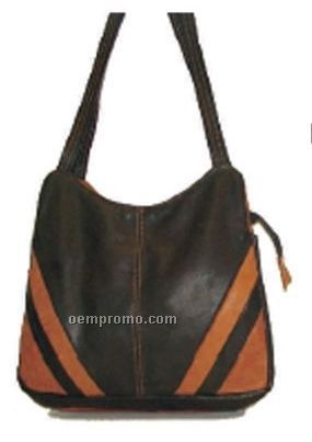 Ladies Kourtney Diagonal Design Side Cowhide Bag
