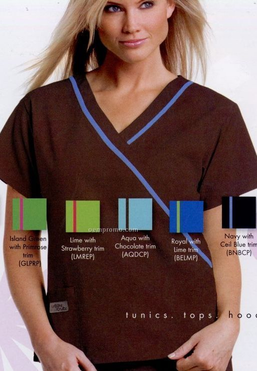 Urbane Essentials Women's Mock Wrap Tunic Scrub Top