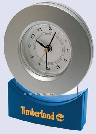 Circular Alarm Clock Suspended By Clear Acrylic Accent