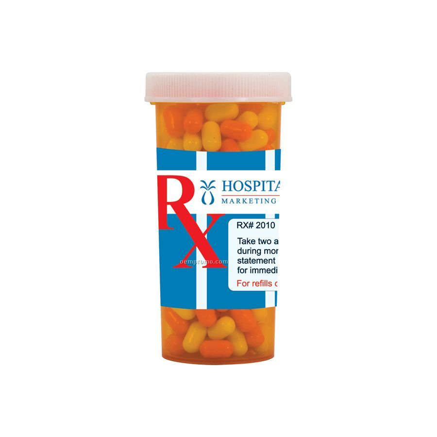 Large Pill Bottle With Colored Bullet Candy