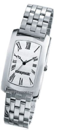 Unisex Classic Watch W/ Wave Pattern Dial & Metal Band