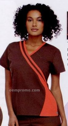 Urbane Women's 65/35 Poly/Cotton Double Piped Crossover Scrub Top