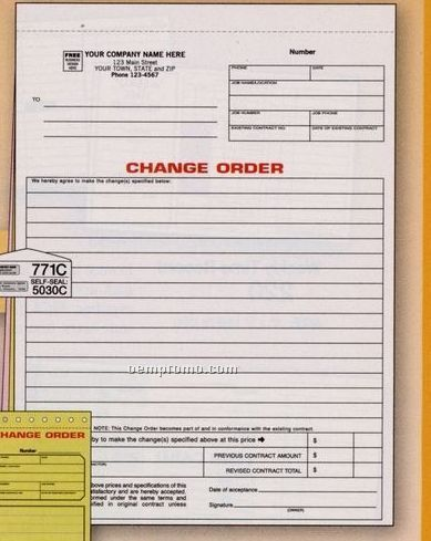 White Change Order Form (3 Part)