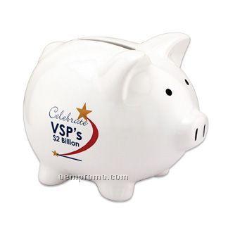 White Ceramic Piggy Bank - 5