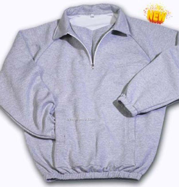 Kangaroo Pocket Quarter Zip Sweatshirt W/ Wind Flap (Heather)