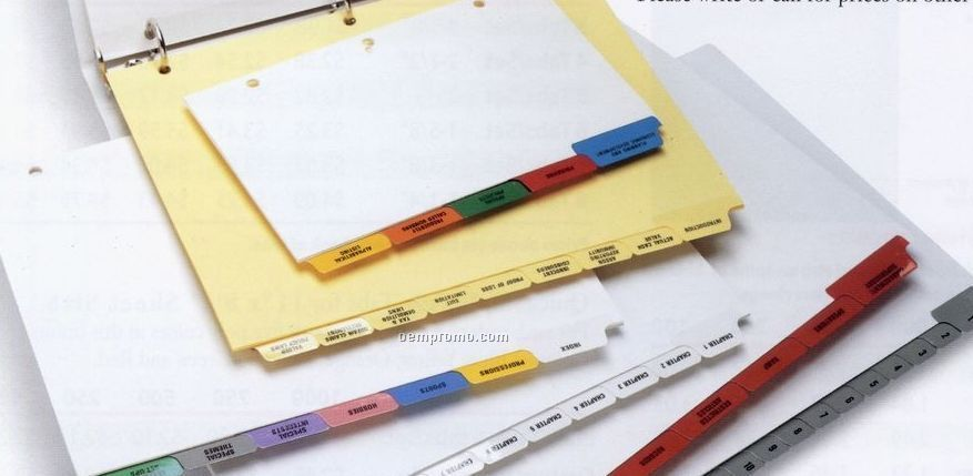 "1-1/4"" Custom Index Set W/ Mylar Tabs (8 Tabs/ Set)"