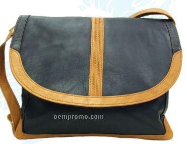 Ladies Dark Brown Fabiana Top Flap Stone Wash Cowhide Bag