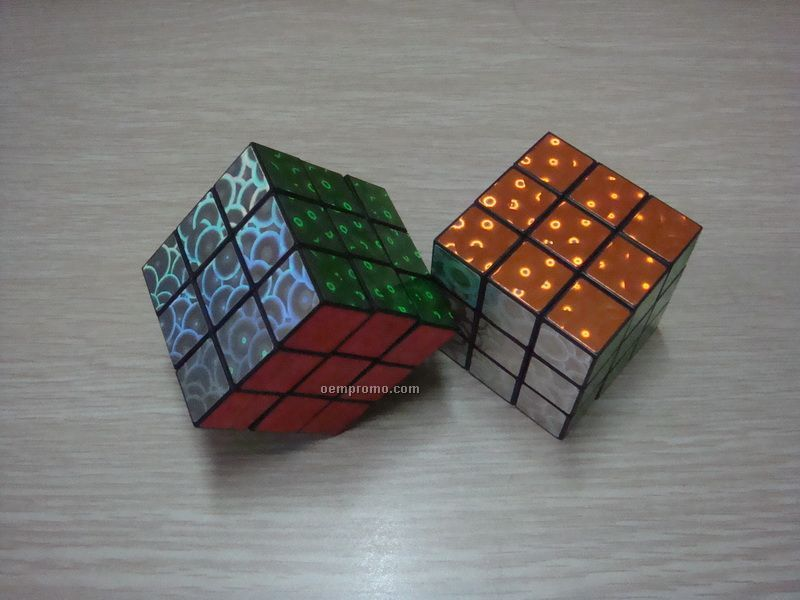 "Custom Print Puzzle Cube, 2 1/8"" Glitter Block With 1 Color Imprint"