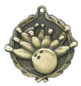 """Medal, """"Bowling"""" - 1-3/4"""" Wreath Edge"""