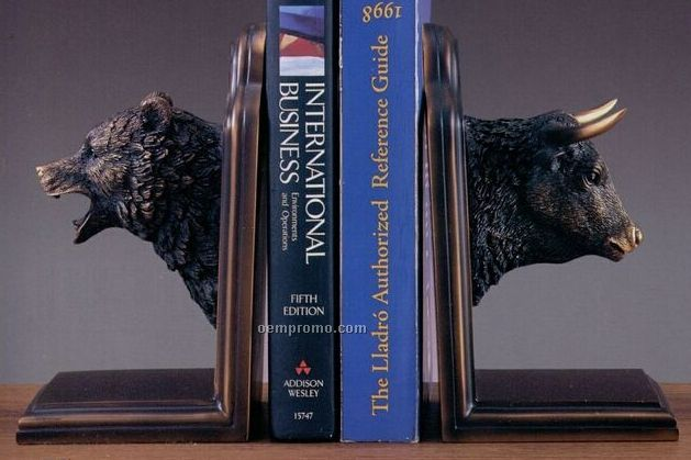 "Bear & Bull Heads Bookends Trophy - 2 Piece Set (9""X8"")"