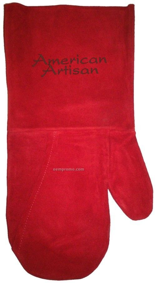 Suede Bbq/ Oven Mitt, Debossed Or Hot Branded (Red)