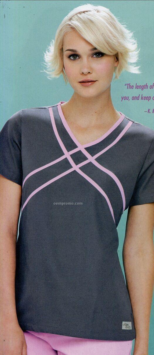 Urbane Women's 60/40 Cotton/ Poly Criss-cross Scrub Top