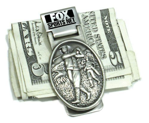 Golf Pewter Money Clip With Vintage Scene