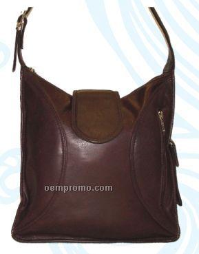 Ladies Medium Brown Savannah Side Zip Bag W/ Cell Phone Pocket