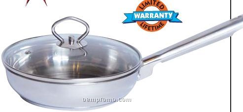 """Maxam 11-1/2"""" Stainless Steel Fry Pan With Glass Cover"""