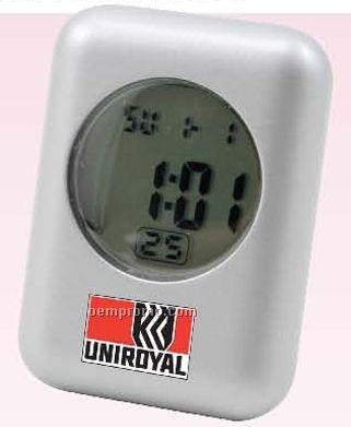 Stylish Metal Quartz Lcd Alarm Clock
