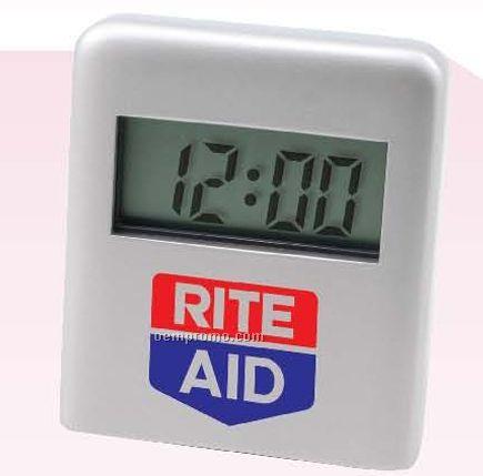 Rectangular Stylish Metal Quartz Lcd Alarm Clock